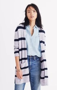 Madewell Kent Open Cardigan Sweater in Stripes